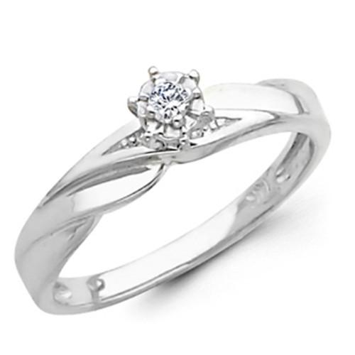 White Gold Engagement Ring 14K  0.07 Ct - DRG10E