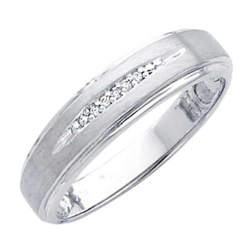 White gold wedding band with Diamonds - 14K  0.05 Ct - DRG8G