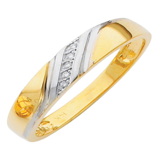 Yellow gold wedding band with diamonds - 14K  0.02 Ct - DRG2B