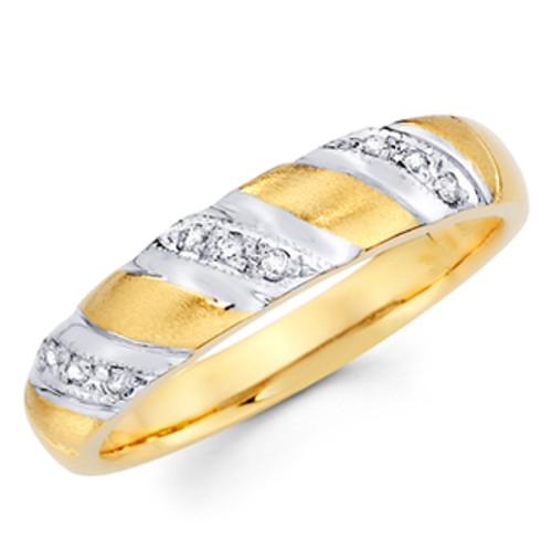 Yellow gold wedding band with Diamonds - 14K  0.10 Ct - DRG3G