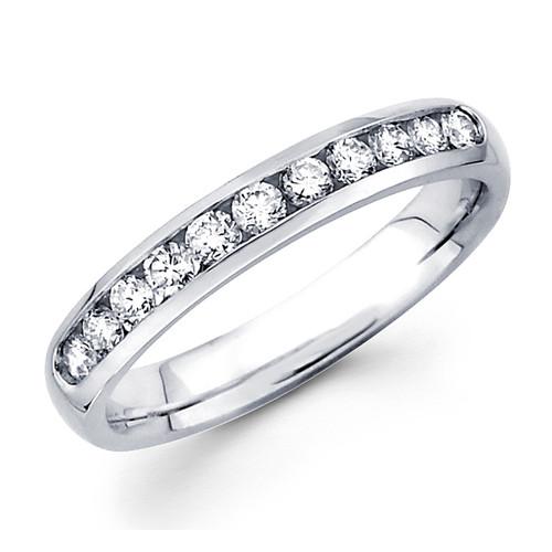 White gold wedding band with diamonds - BD5-8
