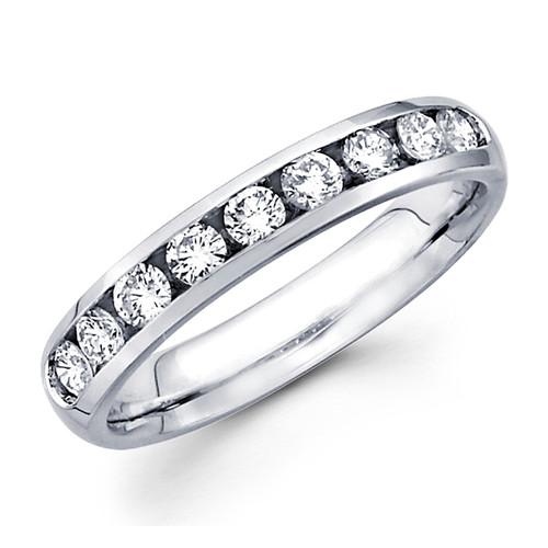 White gold wedding band with diamonds - 14 K - BD5-7