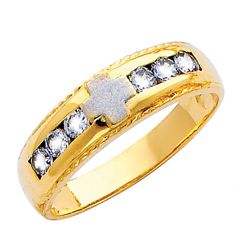 Yellow gold wedding band with CZ - 14K  3.8 gr. - RG157