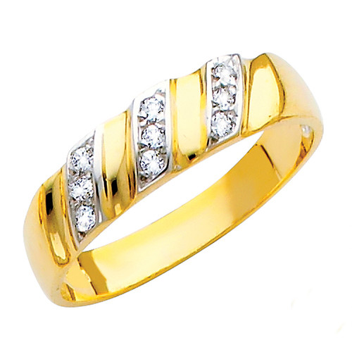 Yellow gold wedding band with CZ - 14K  3.1 gr. - RG147