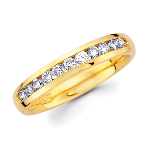 Yellow gold wedding band with diamonds - BD4-4