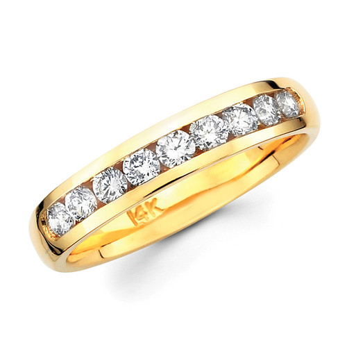 Yellow gold wedding band with diamonds - BD4-3