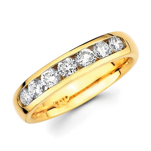 Yellow gold wedding band with diamonds - BD4-2