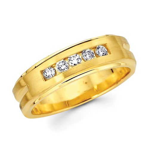 Yellow gold wedding band with diamonds - BD2-22