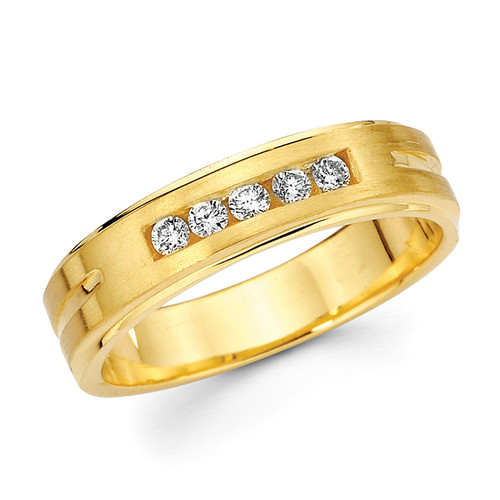 Yellow gold wedding band with diamonds - BD2-21