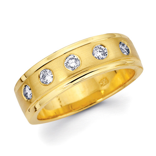 Yellow gold wedding band with diamonds. - BD2-18