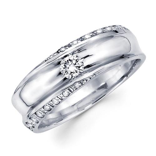 White gold wedding band with diamonds - BD1-15