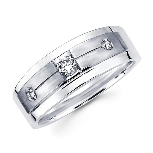 White gold wedding band with diamonds - BD1-13