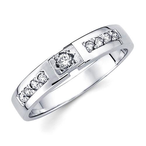White gold wedding band with diamonds - BD1-12