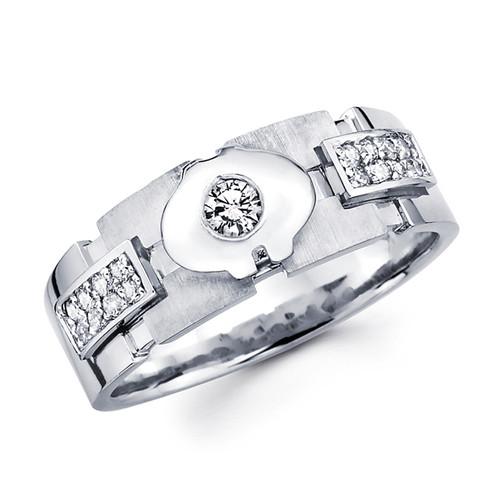 White gold wedding band with diamonds - BD1-10