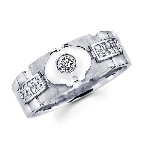 White gold wedding band with diamonds - BD1-9