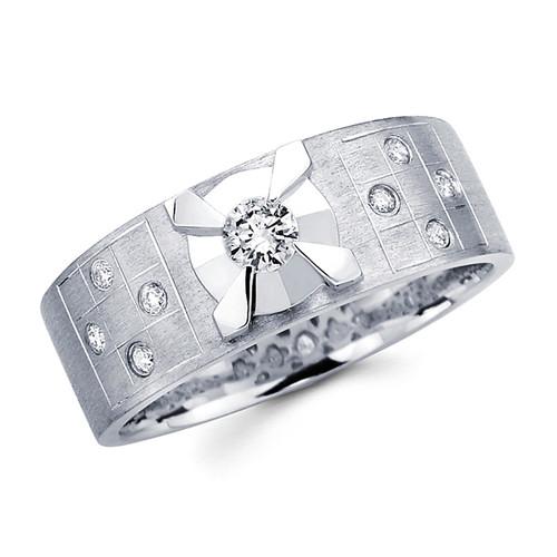 White gold wedding band with diamonds - BD1-8