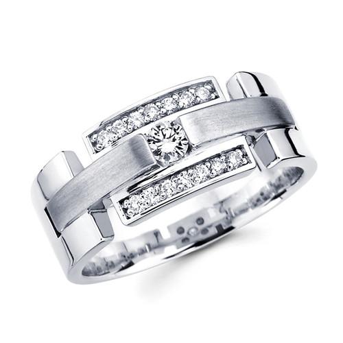 White gold wedding band with diamonds - BD1-2