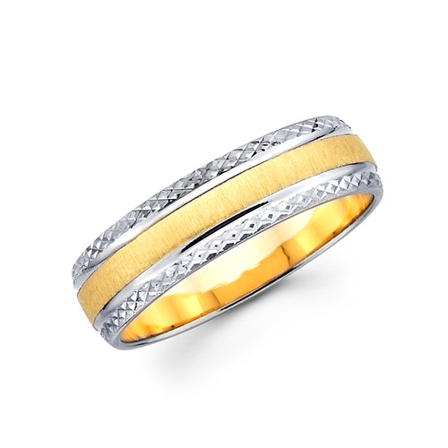 Yellow & white gold wedding band - BC4-23