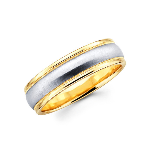Yellow & white gold wedding band  - BC1-16