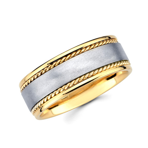 Yellow & White gold wedding band   - BC1-4