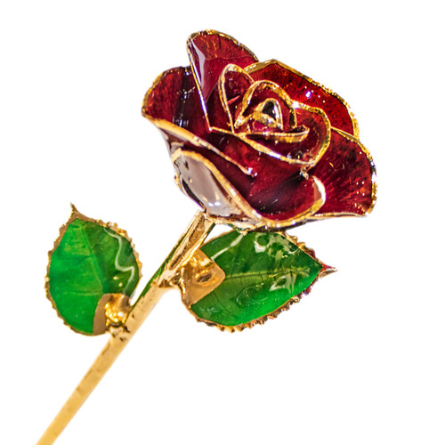 "January: Garnet | 12"" Rose Trimmed in 24K Gold. - RSE10"