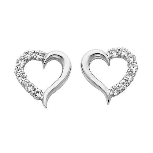 White Gold Earrings - CZ - 14 K  - ER317W