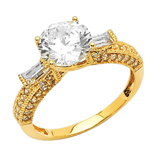 White or Yellow Gold Engagement Ring - 14 K.  3.1 gr - RG26W