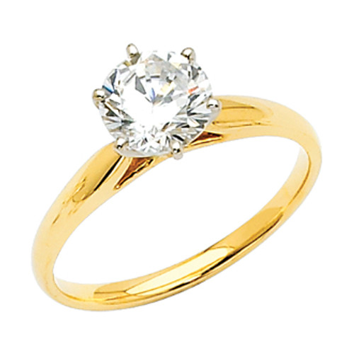 White or Yellow Gold Engagement Ring - 14 K.  2.5 gr - RG2W