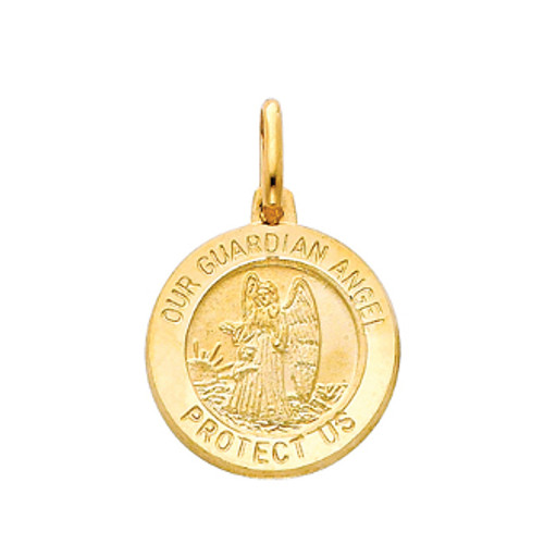 Yellow or White Gold Medal - Guardian Angel -14K. 1.9 gr.- PT283