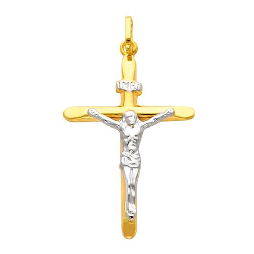 Yellow / White Gold Cross - 14 K - 1.4 gr. - PT9