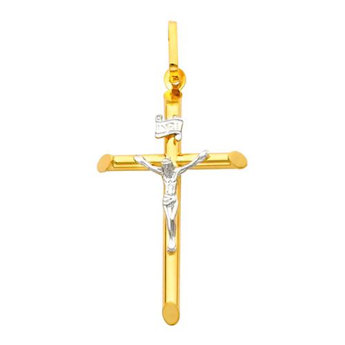 Yellow / White Gold Cross - 14 K - 1.7 gr. - PT2
