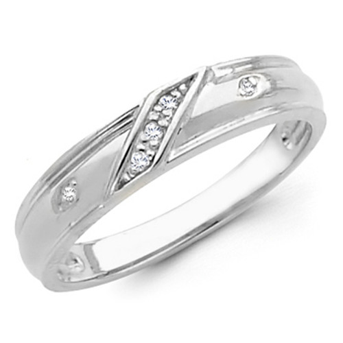 White gold wedding band with Diamonds - 14K  0.05Ct - DRG11B