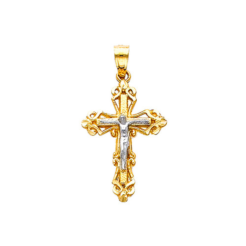 Yellow / White Gold Cross - 14K -  1.0 gr. - PT74