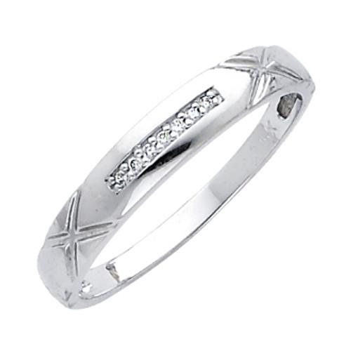 White gold wedding band with Diamonds - 14K  0.05 Ct - DRG13G