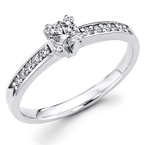 White Gold Engagement Ring - 14K - 0.37 Ct - DRG56
