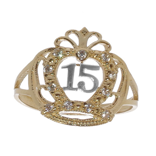 Forever 15 - Yellow & White Gold Ring with CZ - XVR-704