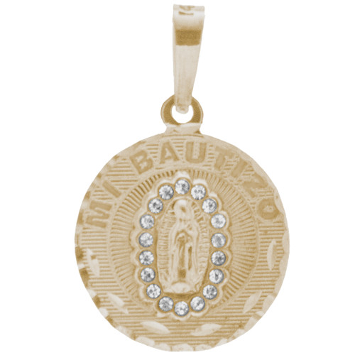 Yellow Gold Baptism Medal  - CZ - Virgin Mary - 14 K - BPT-612