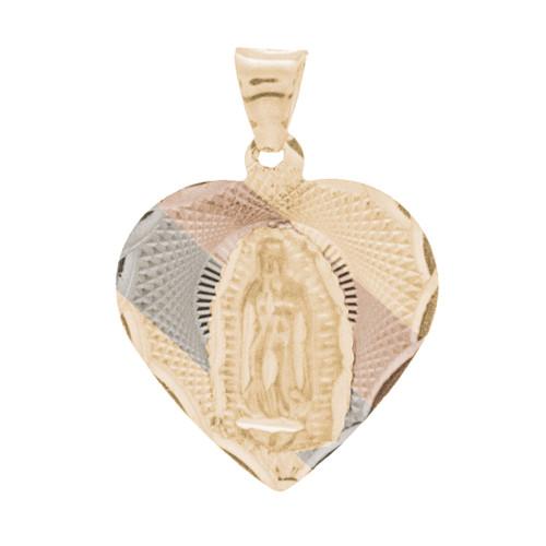 Yellow / White / Red Gold Virgin Mary Medal - 14 K - RP235