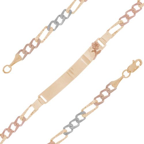 Yellow / White / Red Gold ID Bracelet - 14 K - IDB301