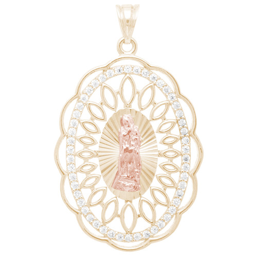 Yellow and Red Gold Virgin Mary Pendant with CZ  - 14 K - PTR575  Yellow and Red gold pendant with CZ  14 K.| 3.6 gr.