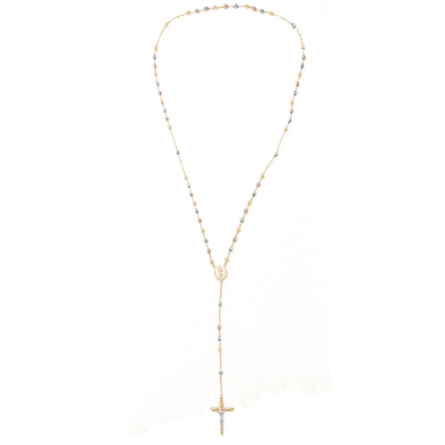 Yellow / White / Red Gold Rosary Necklace - 14 K - NK79  Yellow, White and Red Gold rosary necklace.  14K | 15.6 gr. | 17''