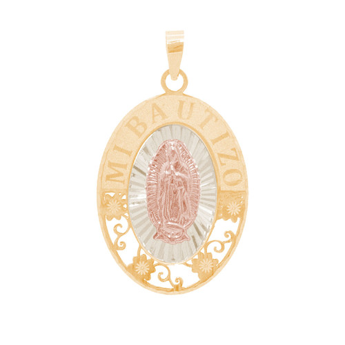 Three Gold Baptism Medal - Virgin Mary - 14 K - BPT671