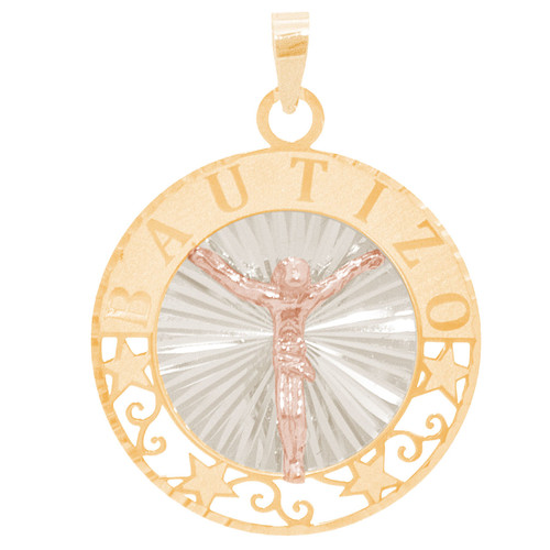 Three Gold Baptism Medal - Jesus Christ - 14 K - BPT672