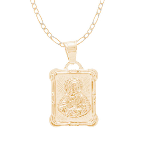Virgin Mary Medal and Chain Set - CZ - 14 K - JST424