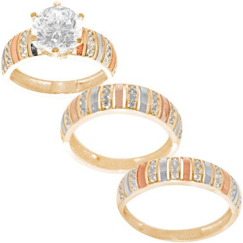 Three Gold Trio Set with CZ - TDR113