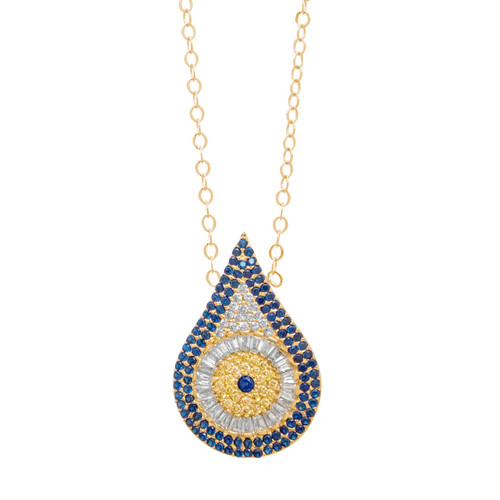 Gold Pendant and Chain Set - CZ - 14 K - JST349