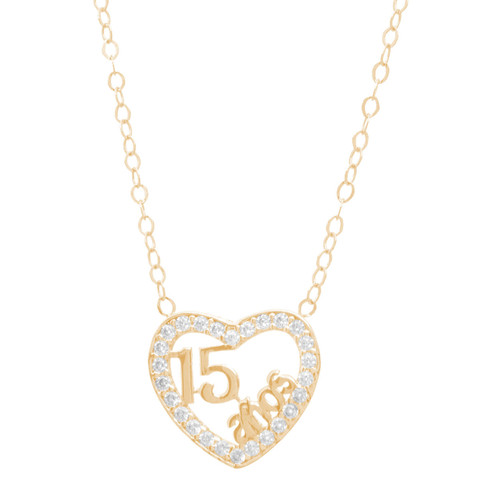 XV Gold Pendant and Chain Set - CZ - 14 K - JST353