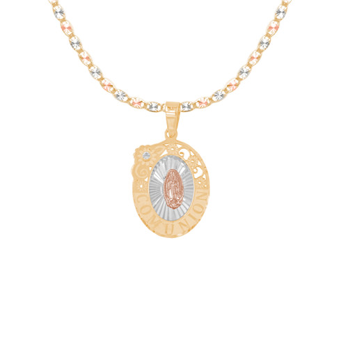 First Communion Gold Pendant and Chain Set - CZ - 14 K - JST370