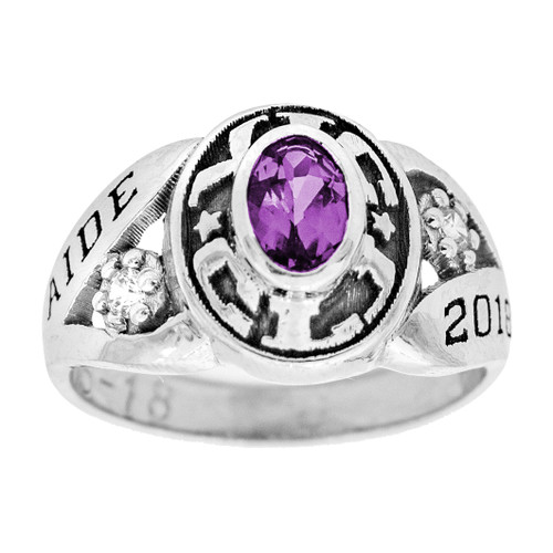 Graduation Ring / White Gold / Birthstone - CZ - GDR222