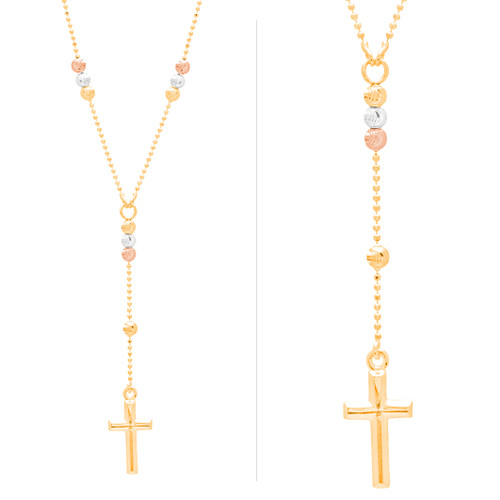 Yellow, White and Red Gold Rosary Chain and Cross Pendant Set - 14 K - JST396